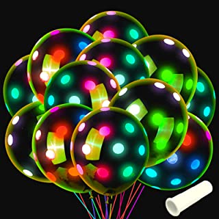 Neon Glow Balloons Polka Dots Glow in The Dark Suitable for Party Decorations, Birthday, Blacklight Party, Valentine's Da...