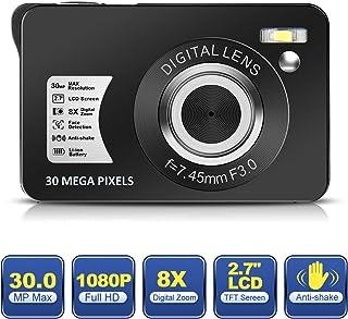 Camara de Fotos Camara Fotos 1080P HD 30MP Cámara Recargable Camara de Fotos Digital de 2.7 Pulgadas Cámara con Zoom 8X Cámara Compacta para Fotografía