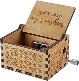 NNDUO You Are My Sunshine Cajas de música de Madera, grabadas con láser, Vintage, Caja Musical de Madera, Regalos para cumpleaños, Navidad, día de San Valentín