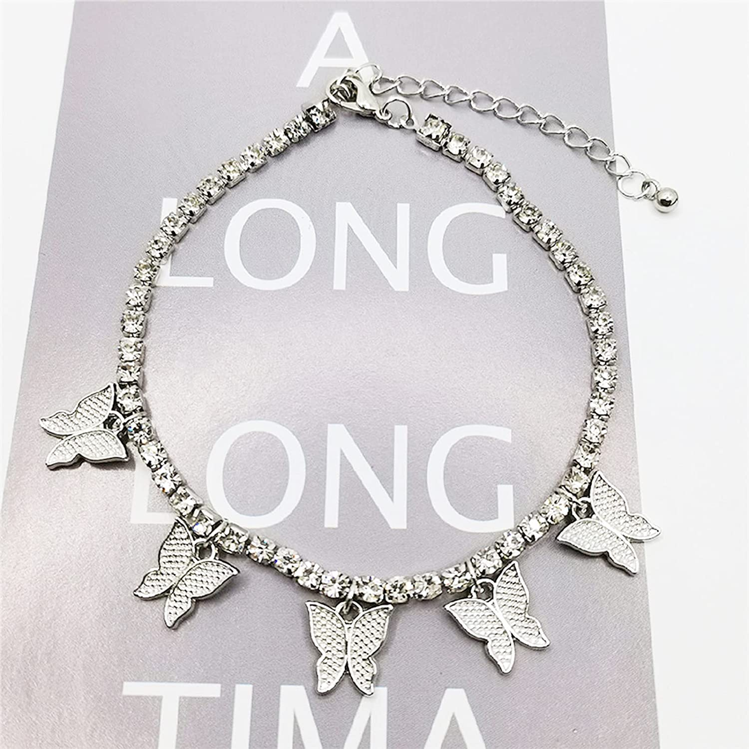 TBoxBo 5 PCS Colorful Rhinestone Butterfly Anklets Crystal Butterfly Anklets Boho Foot Chain Bracelets Female Jewelry