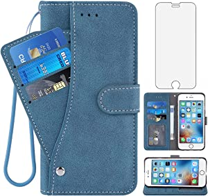 Compatible with iPhone 7/8/SE 2020 Wallet Case and Tempered Glass Screen Protector Flip Cover Card Holder Cell Phone Cases for iPhone7 iPhone8 i Phone7case Phone8case Phones8 7s 8s SE2020 SE2 2 Blue