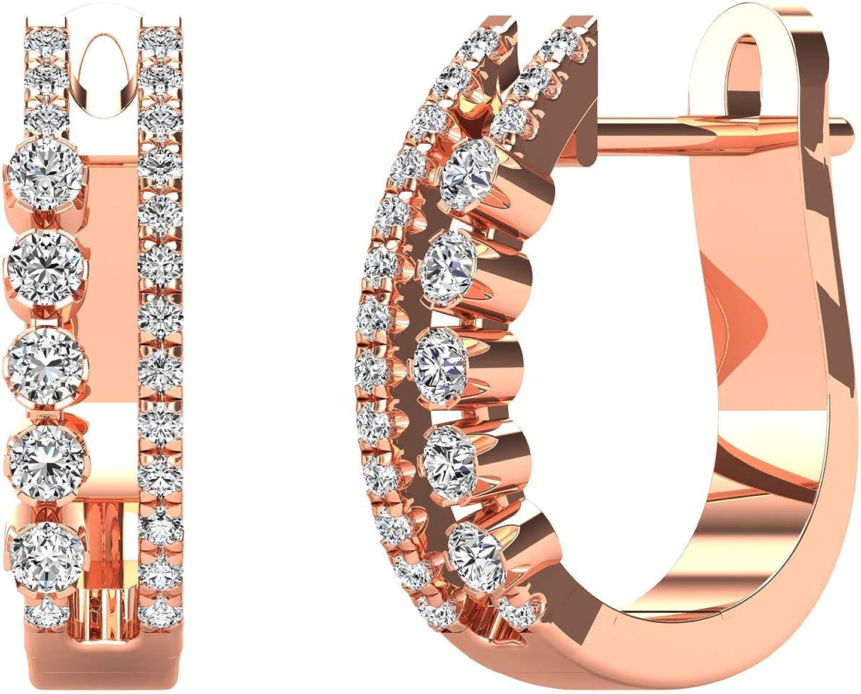 JewelAngel 14K Rose Gold 1/4ct TDW Diamond Double Hoop Earrings (H-I, I1-I2)