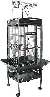 BPS Jaula Grande para Loro Pájaro Pajarera Periquito Canarios con Parque de Juegos Saltado Comedero Color Blanco/Negro 62 * 62 * 156 cm (Negro) BPS-1300NE