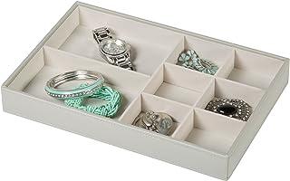 Richards Homewares Bandeja organizadora para joias, 8 compartimentos sem suporte de anel, cinza granulado