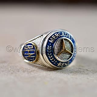 blue Mercedes benz ring, solid 925 sterling silver ring, men's biker ring, blue enamel ring, thanksgiving gift car lover ring, two tone ring, artisan jewelry customized ring