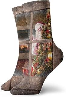 Kevin-Shop, Navidad Árbol de Navidad y Papá Noel Personalidad de Hombres y Mujeres Calcetines Cortos Estampados Divertidos Calcetines Casuales Calcetines de Equipo