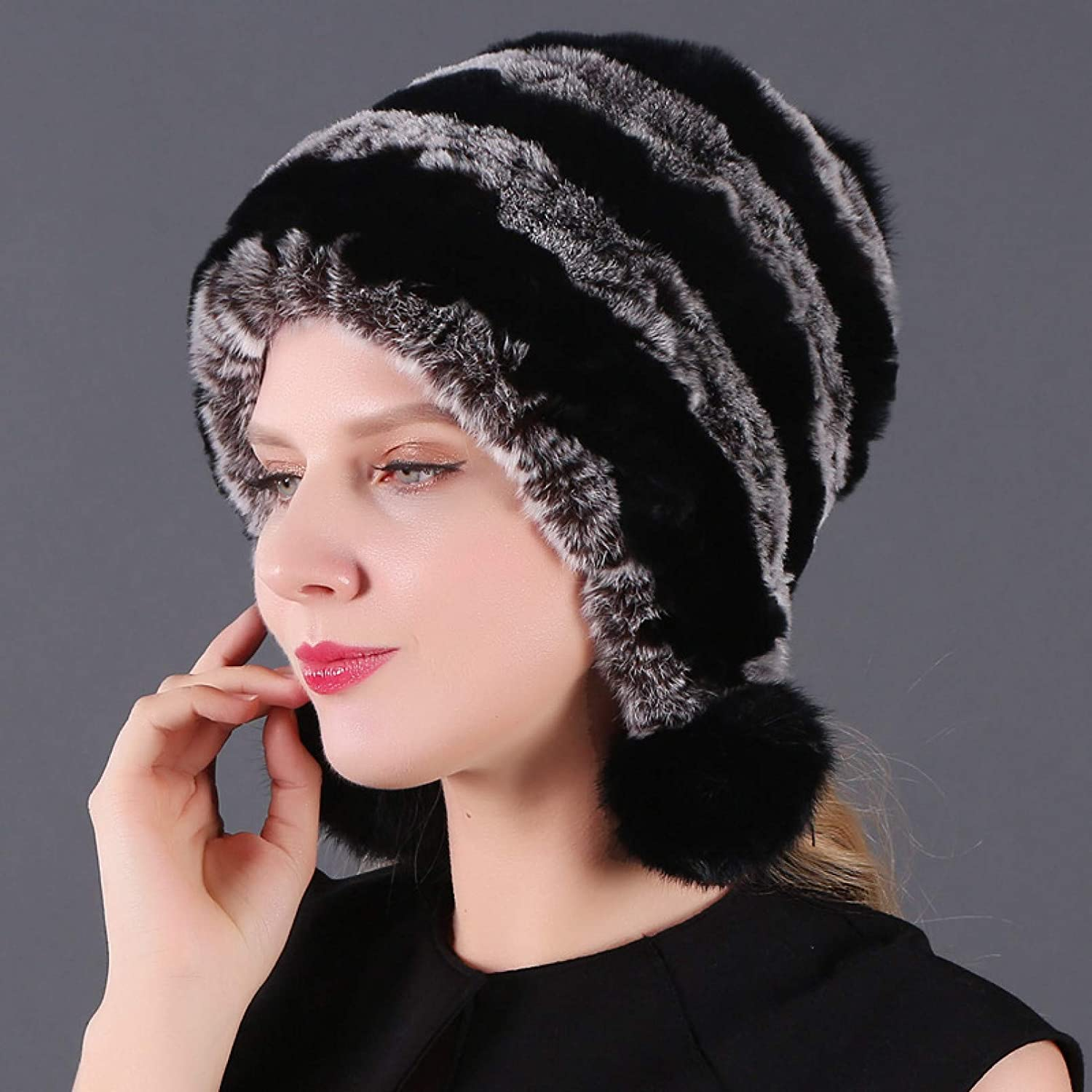 BELEMON Some reservation Winter Hats Super Special SALE held for Women Thick Warm Lad Fur Real Rabbit Hat