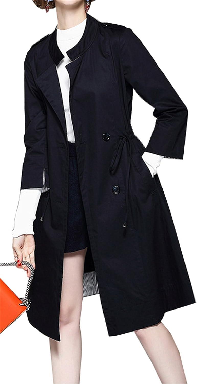 Allonly Women's Stylish 3 4 Sleeve Open Collar Drawstring Waist Trench Coat