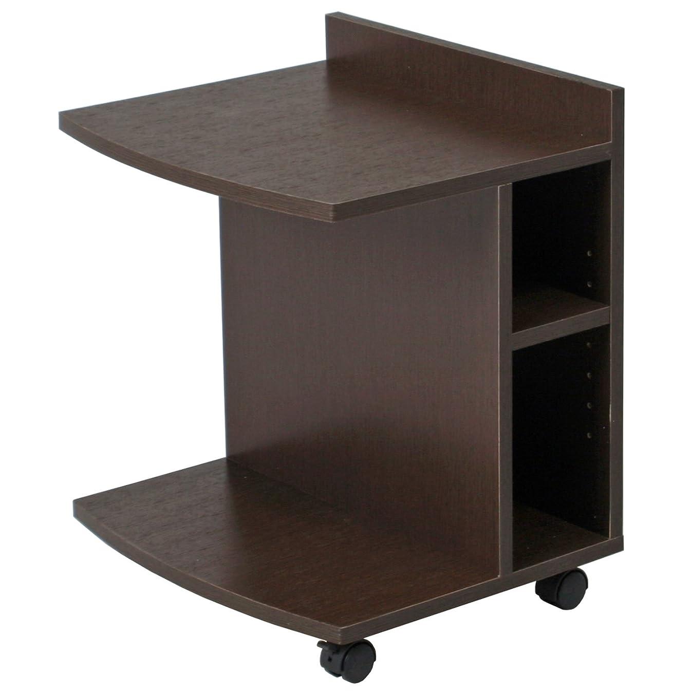 軽減するトランザクション繁栄不二貿易 サイドテーブル ベッドサイド 幅45㎝ ロータイプ 収納 棚付き 高さ調整 ブラウン 78196