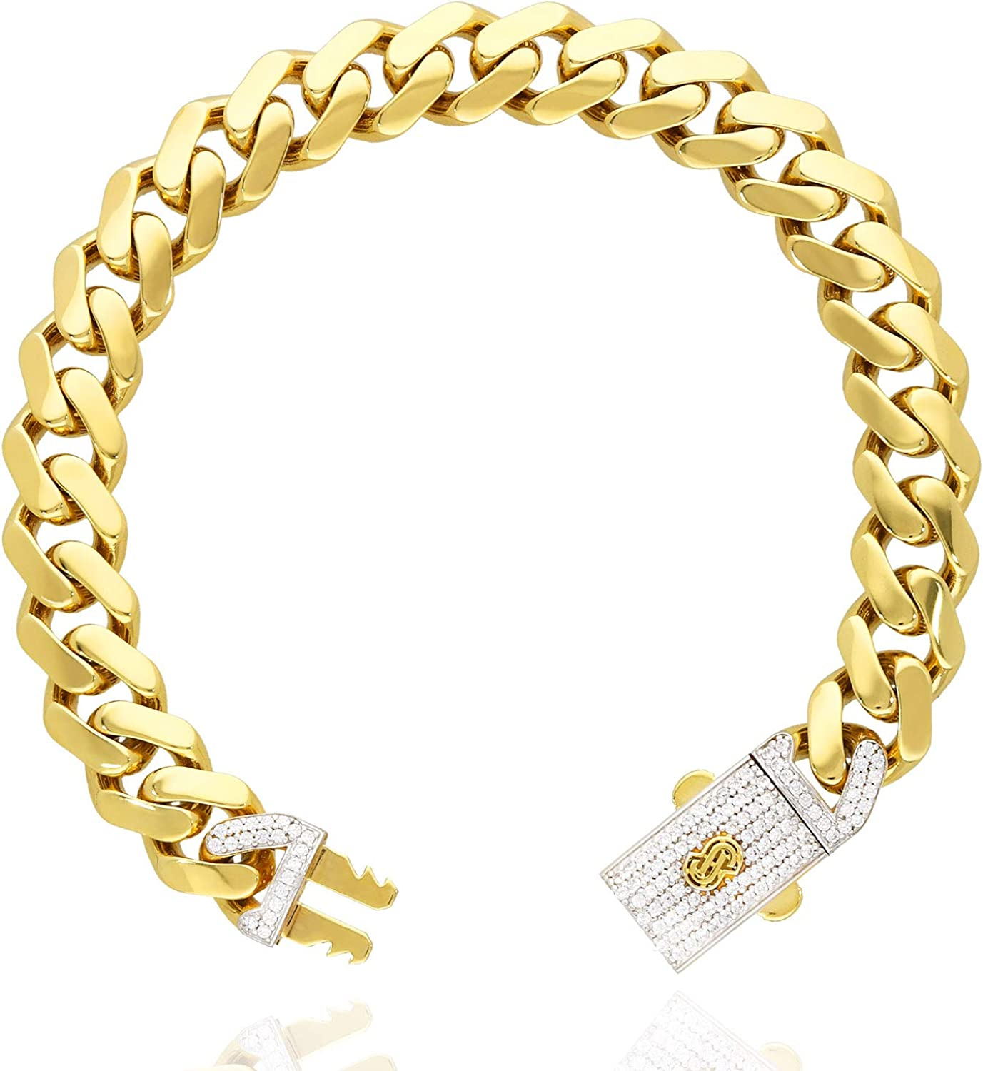 Ranking TOP16 14K Yellow Gold Created Diamond Pave Clasp Link Miami New product! New type Box Mens B