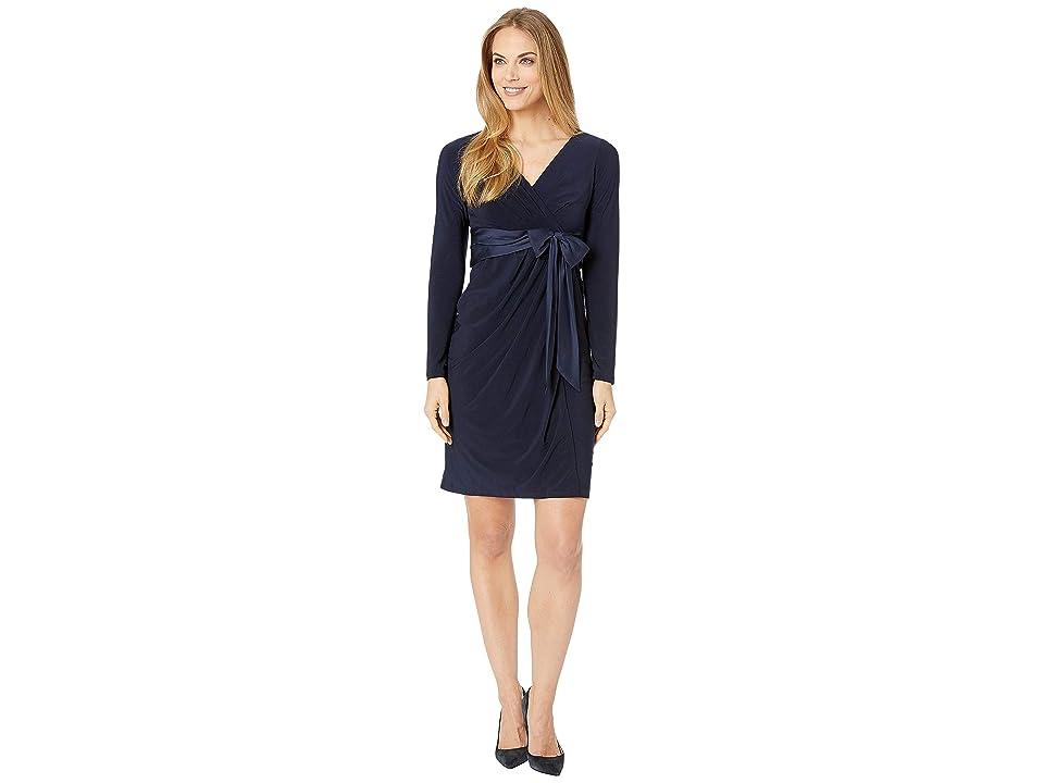 CHAPS Surplice Satin Sash Evening Dress (Capri Navy) Women