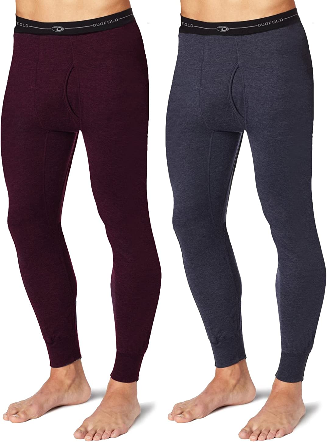 Duofold KMW2 Men's Mid Weight Wicking Thermal Pant 1 Bordeaux Red + 1 Navy