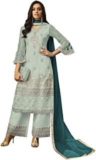 Net Fabric Embroidered and Diamond Work Straight Suits