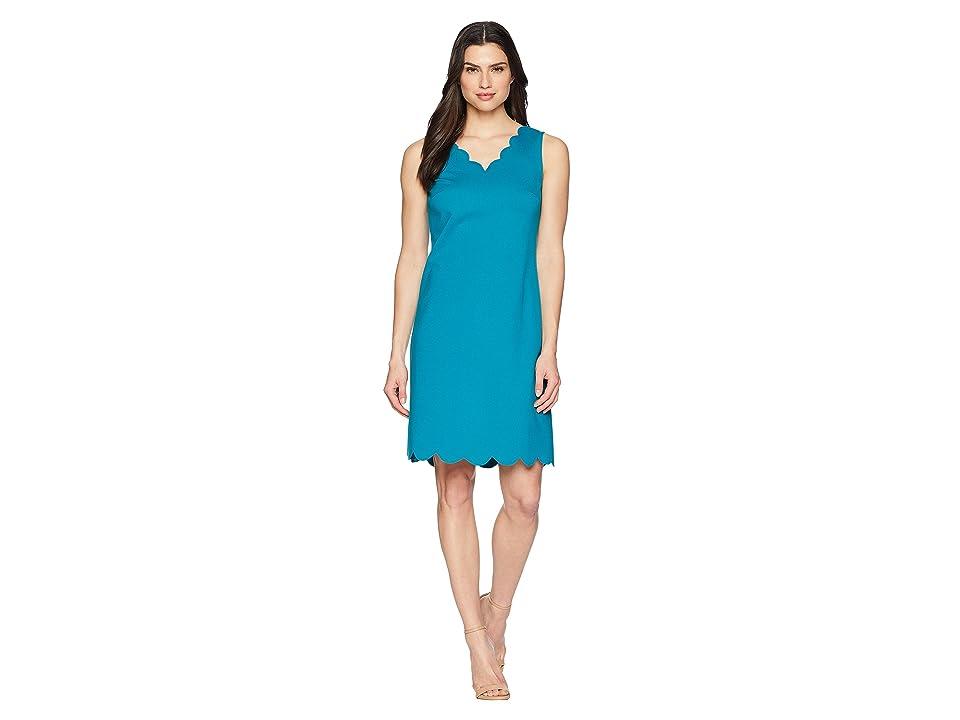 Nine West A-Line Dress w/ Scallop Neckline (Ocean) Women
