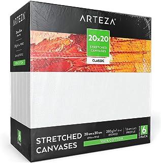 Arteza Lienzo para pintar cuadros | 20x20 cm | Pack de 6 | 100% algodón | Lienzos con imprimación de gesso de titanio sin ácidos | para profesionales, aficionados y principiantes