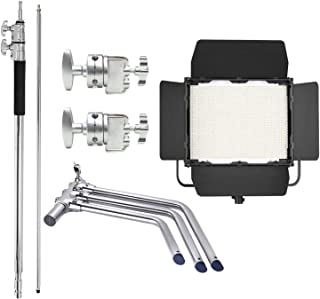 COOPIC CP-1200S(1200pcs LED) LED studio light with V-mount battery plate and Foldable C Stand Includes Spring Loaded Base ...