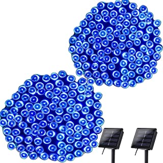 Lyhope Solar Christmas Lights, 72ft 200 LED 8 Modes Waterproof Christmas Fairy String Lights for Garden, Patio, Home, Party, Wedding, Holiday, Xmas Tree, Outdoor Decor (Blue, 2 Pack)