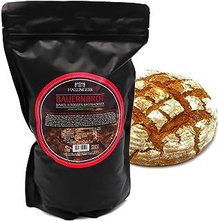 Hallingers Natürliche Brotbackmischung 1.000g - Bauernbrot - Dinkel & Roggen Brotbackmix Aromabeutel - zu Weihnachten Passt immer