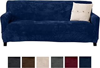 Great Bay Home Modern Velvet Plush Sofa Slipcover. Strapless Couch Cover, Stretch Slipcover for Couch, Soft Sofa Cover for Living Room. (Sofa, Dark Denim Blue)
