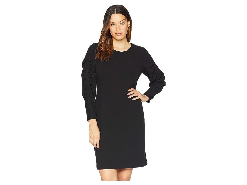 Vince Camuto Elbow Bubble Sleeve Crepe Ponte Dress (Rich Black) Women