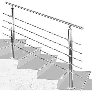 Hengda Pasamanos escalera acero inox 80 * 4.2 * 106.5cm,5 barras,barandilla con kit de instalación,para Exteriores Ático Barandas para Ancianos y niños: Amazon.es: Bricolaje y herramientas