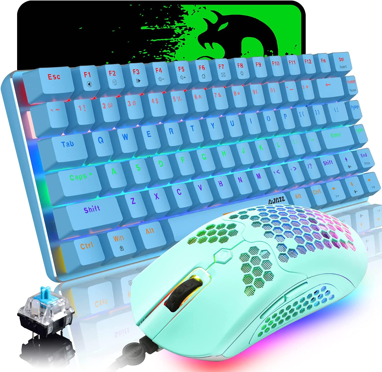 Wired Gaming Keyboard and Mouse,3 in 1 Gaming Set,Blue LED Backlit Wired Gaming Keyboard,RGB Backlit 12000 DPI Lightweight Gaming Mouse with Honeycomb Shell,Large Mouse Pad for PC Game(Blue)