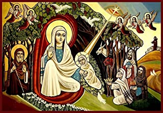 Coptic Nativity of Christ 01 Canvas Icon Print. FREE PRIORITY SHIPPING!