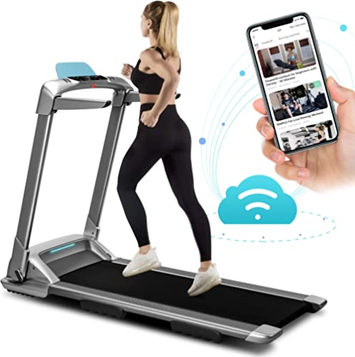OVICX Q2S Folding Portable Treadmill Compact Walking Running Machine for Home Gym Workout Electric Treadmills with LE...