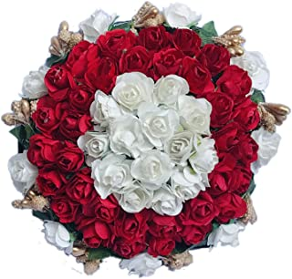 Maahal Garland Flower Juda Gajra Hair Bun Accessory for Women - Red & White