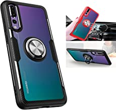 Huawei P20 Pro Case,360° Rotating Ring Kickstand Protective Case,TPU+PC Shock Absorption Double Protection Cover Compatible with [Magnetic Car Mount] for Huawei P20 Pro Clear Case (Black and Silver)