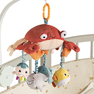 TUMAMA Crab Crib Mobile Hanging Toy with Tummy Time Mirror, Activity Plush Animal Stroller Baby Toys Gifts Sets for 0 3 6 ...