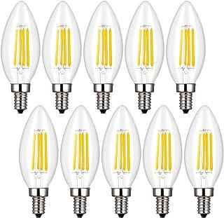 シャンデリア電球 40W形相当 LED クリア電球 4W E17口金 フィラメント 蝋燭型 LED電球 電球色 2700k 400lm C35 E17 クリアタイプ シャンデリア形 【10個入り】