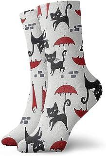 Calcetines deportivos transpirables para hombres y mujeres Calcetines tobilleros para gatos y paraguas Calcetines de compresión de vestido corto 30 cm