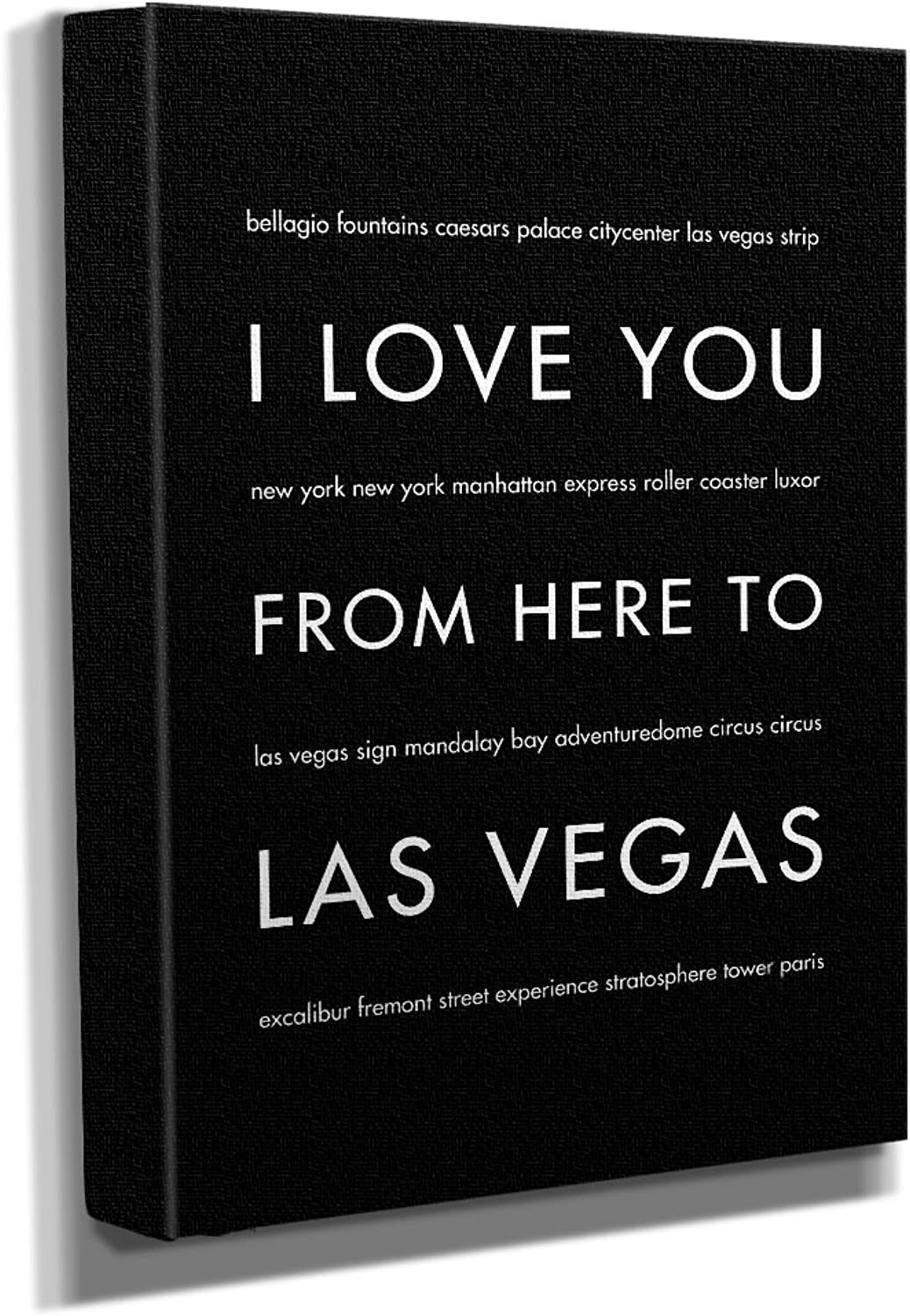 HopSkipJumpPaper Las Vegas Nevada Gallery Wrapped Stretched Canvas Wall Art (8 x10 x1.5 ) in Black - Typography Home Decor - Ready to Hang
