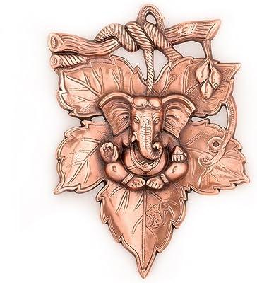 eCraftIndia Lord Ganesha on Creative Leaf Wall Hanging (20 cm x 1.25 cm x 28.75 cm, Brown)