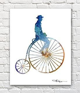 Penny Farthing Abstract Watercolor High Wheel Bike Art Print by Artist DJ Rogers