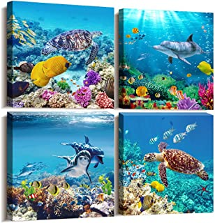 MHARTK66 Canvas Wall Art - Coral and Fish Modern Home Decor Stretched and Framed Ready to Hang Ocean Theme Sea Fish and sea Turtles Mediterranean Style Canvas Prints The Bathroom Wall Decor- 4 Panels