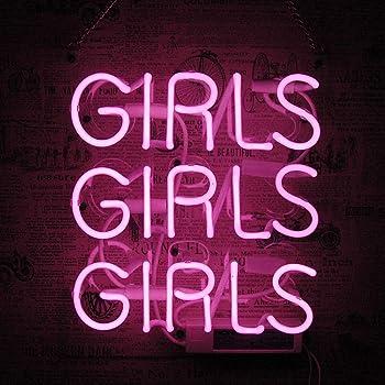 Girls Girls Girls 3-sided box Room Handcraft Real Glass Store Custom Neon Sign