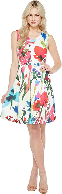 A-Line Printed Scuba Dress with V-Neck