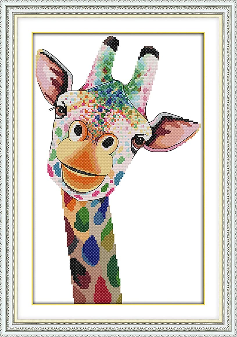 eGoodn Stamped Cross Stitch Kit with Printed Pattern Colorful Cartoon Giraffe 11CT Fabric 14.2 x 20.5 Inch, Frameless Cross-Stitching Needlework