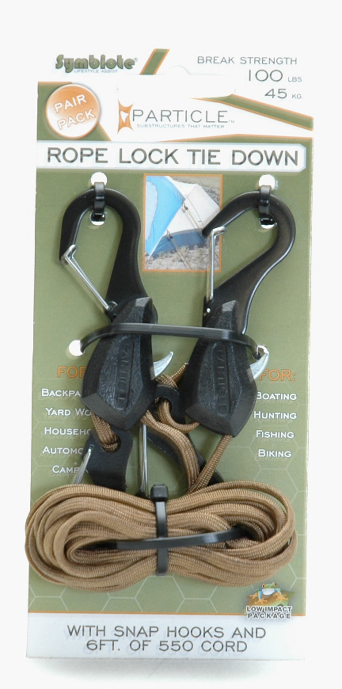 Pack of 2 PROGRIP 056230 Better Than Bungee Rope Lock Tie Down with Snap Hooks 6 Blue Paracord
