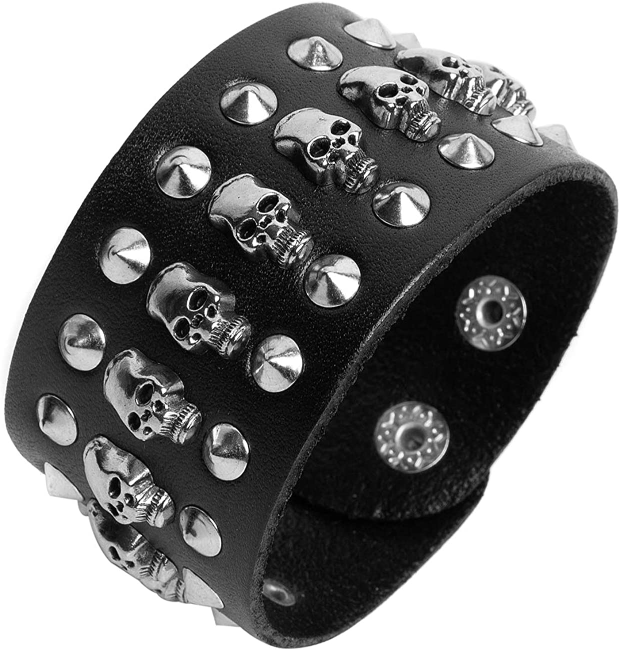 Black metal rivets studs punk rock biker wide belt leather bracelet guard wrist strap skull