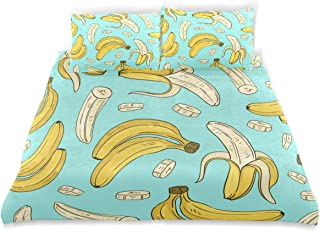 ATONO Banana Peel and Chips Hand Drawn 3 Piece Bedding Duvet Cover Sets Twin 2 Pillow Cases and 1 Duvet Cover for Kids Girls Boys Comforter Bedspread Coverlet Quilt Sets