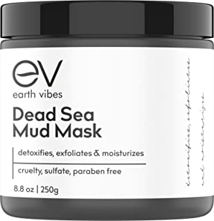 Earth Vibes Dead Sea Mud Mask For Face & Body - (8.8oz) - 100% Natural - Face Mask To Treat Oily Skin, Acne, Blackheads, Pore Minimizer - Reducer & Pores Cleanser - Purifying Moisturizing Treatment