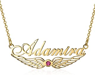 Elefezar Personalized 925 Sterling Silver Heartbreak Couple Necklace Custom 2 Names for Couples