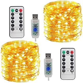 LED String Lights Copper Wire Lights, Amazer Tec 33ft 100 LED String Lights Plug In 2 Pack Dimmable with Remote Control, W...