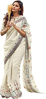 Vastra Villa Women's Woven Silk Blend Saree With Blouse Piece (VVLC-010_Cream)