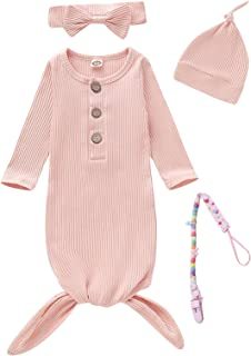4Pcs Newborn Girls Boys Nightgowns Infant Sleepwear Long Sleeve Outfit with Pacifier Clip