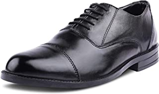 Kanprom Men's Black Genuine Leather Formal Oxford Cap Toe Lace-Up Round Shoes
