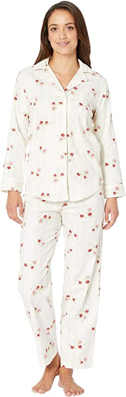 Petite Brushed Twill Long Sleeve Classic Notch Collar Pajama Set